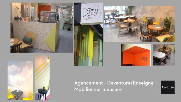 commerce rénovation salon de thé / atelier - boutique par Architéa 42 Loire St Etienne