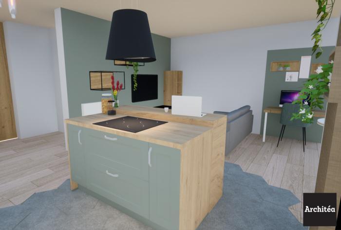 rénovation rénovation complète d'une cuisine et d'un séjour dans un appartement par Architéa 69 Lyon Est