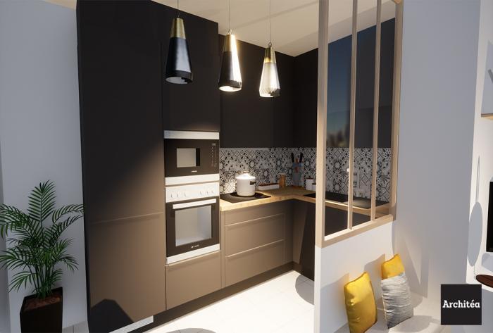 rénovation rénovation d'une cuisine et d'un salon à lyon par Architéa 69 Lyon Est