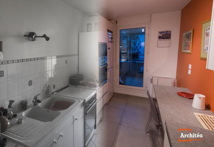 Une cuisine linéaire | Architéa,Cuisine,Linéaire,Longueur,Couloir,Moderne,épurée,Travaux,Rénovation,Appartement,Aménagement,Blanc