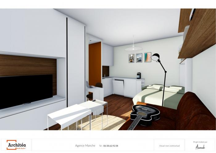 rénovation etude 3d d'une rénovation de studio à paris par Architéa 50 Manche