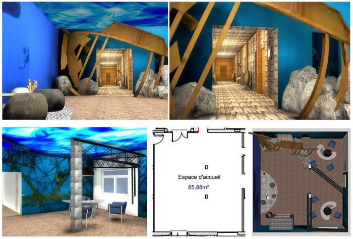 tertiaire etude 3d en cours d'une salle d'accueil par Architéa Architea France