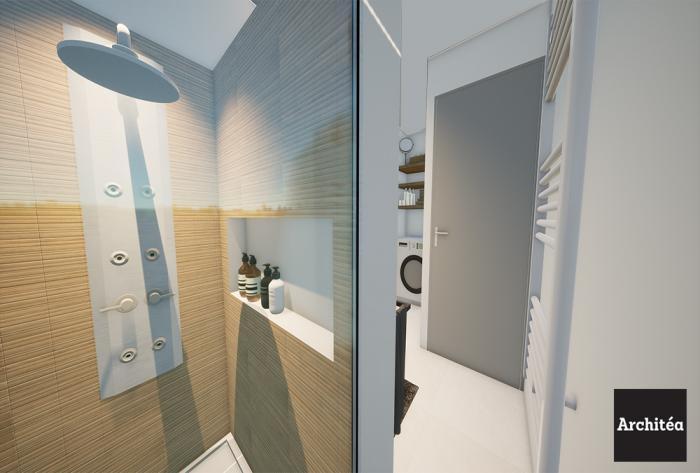 rénovation rénovation complète d'une salle de bain par Architéa 69 Lyon Est