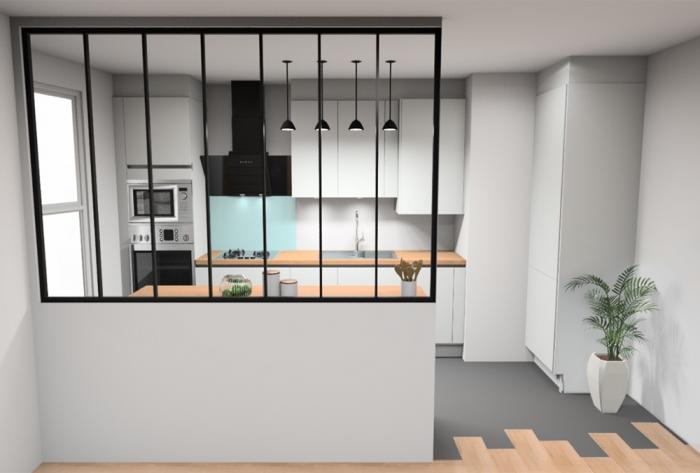 cuisine rénovation d'un appartement près de lyon par Architéa 69 Lyon Est