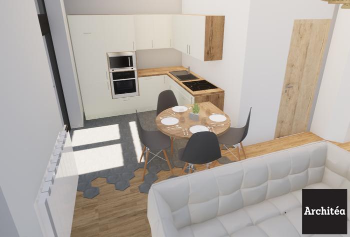 rénovation rénovation d'un local en cabinet & appartement par Architéa 69 Lyon Est
