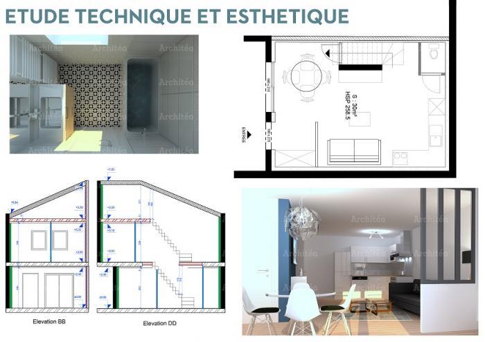 rénovation agencement d'une maison livrée brute de béton à lyon par Architéa 69 Lyon Ouest