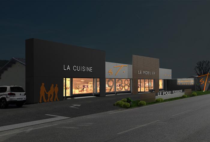 commerce etude de rénovation de façade de commerce par Architéa 69 Lyon Ouest